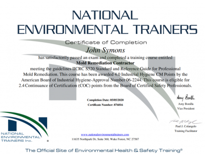 National Environmental Trainers Certificate